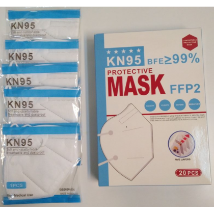 KN95 face mask/5layers/adult/high quality/20pcs/comfortable/easy to breathe/comfy/safe/filtration.